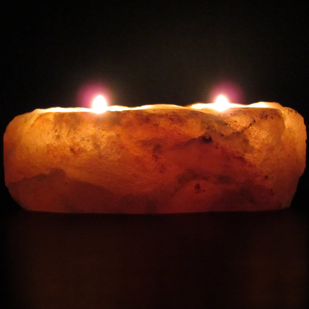 Himalayan Rock Salt Natural Crystal Candleholder, Soft Calm Therapeutic Candle Light - Unique Naturally Formed Salt Crystal Handcrafted Design - Candleholder, Dark Orange Hue