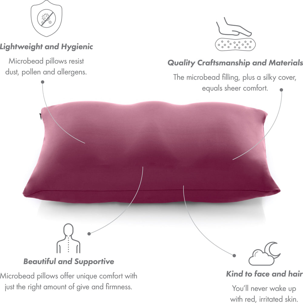 Premium Microbead Bed Pillow, Small Extra Fluffy But Supportive - Ultra Comfortable Sleep with Silk Like Anti Aging Cover 85% spandex/ 15% nylon Breathable, Cooling Burgundy Merlot