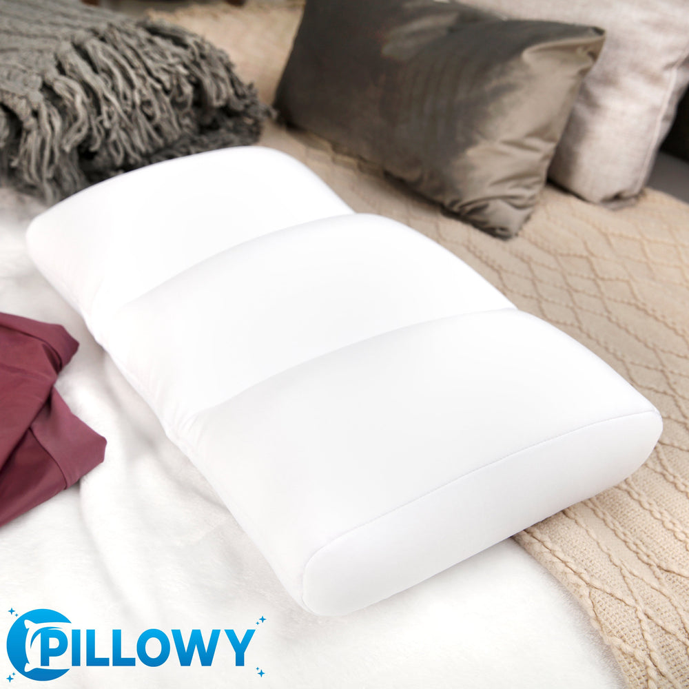 Premium Microbead Bed Pillow, Small Extra Fluffy But Supportive - Ultra Comfortable Sleep with Silk Like Anti Aging Cover 85% spandex/ 15% nylon Breathable, Cooling Cream Peach