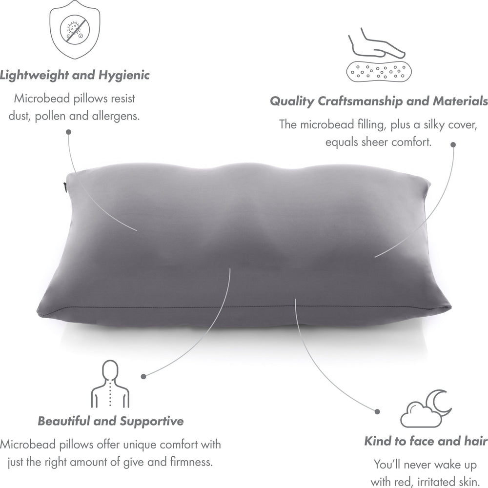 Premium Microbead Bed Pillow, Small Extra Fluffy But Supportive - Ultra Comfortable Sleep with Silk Like Anti Aging Cover 85% spandex/ 15% nylon Breathable, Cooling Dark Grey