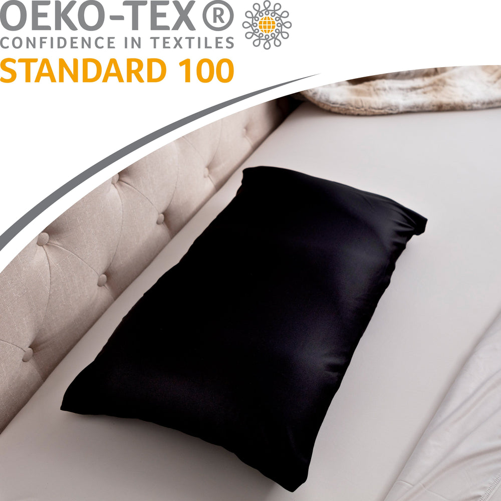 Premium Microbead Bed Pillow, Small Extra Fluffy But Supportive - Ultra Comfortable Sleep with Silk Like Anti Aging Cover 85% spandex/ 15% nylon Breathable, Cooling Matte Black