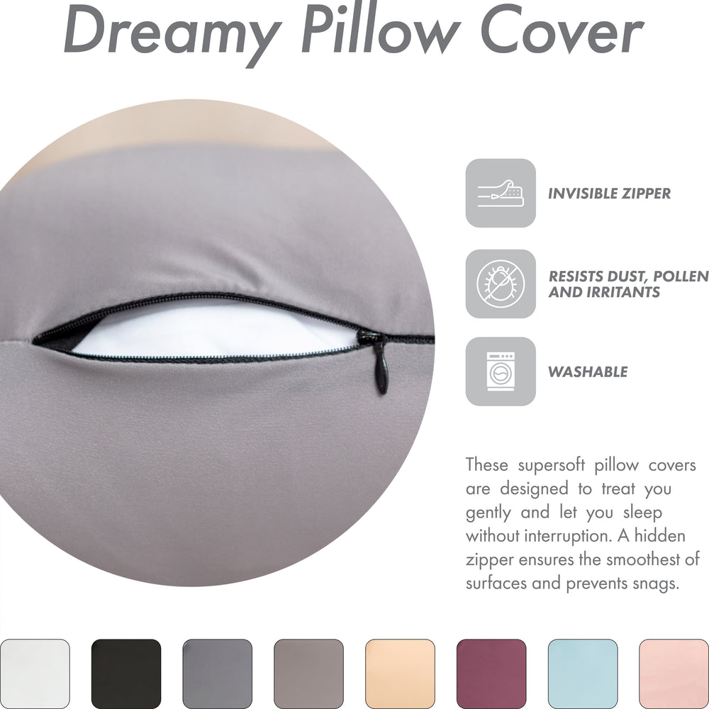 Premium Microbead Bed Pillow, Small Extra Fluffy But Supportive - Ultra Comfortable Sleep with Silk Like Anti Aging Cover 85% spandex/ 15% nylon Breathable, Cooling Stone Gray