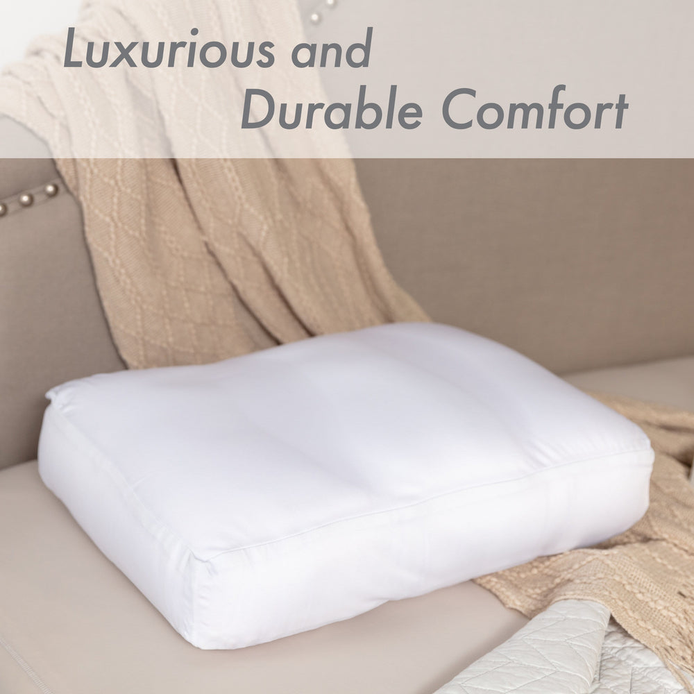 Premium Microbead Bed Pillow, Small Extra Fluffy But Supportive - Ultra Comfortable Sleep with Silk Like Anti Aging Cover 85% spandex/ 15% nylon Breathable, Cooling White