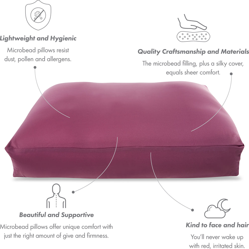 Premium Microbead Bed Pillow, Large Extra Fluffy But Supportive - Ultra Comfortable Sleep with Silk Like Anti Aging Cover 85% spandex/ 15% nylon Breathable, Cooling Burgundy Merlot