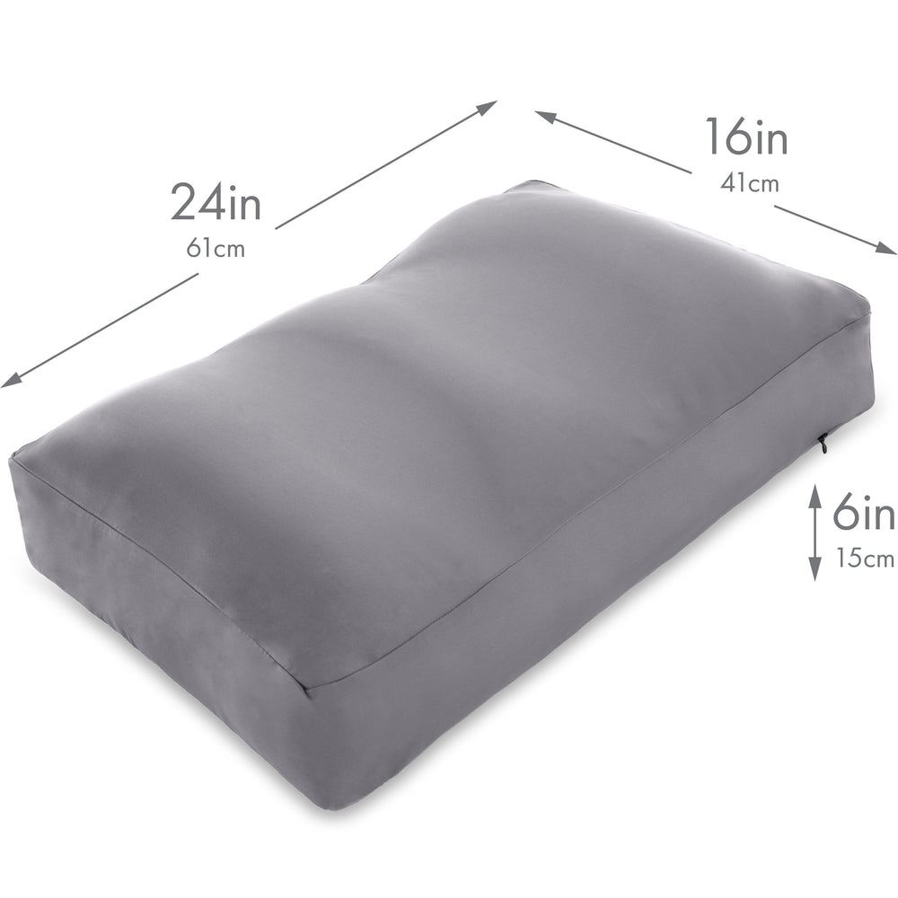 Premium Microbead Bed Pillow, Large Extra Fluffy But Supportive - Ultra Comfortable Sleep with Silk Like Anti Aging Cover 85% spandex/ 15% nylon Breathable, Cooling Dark Grey