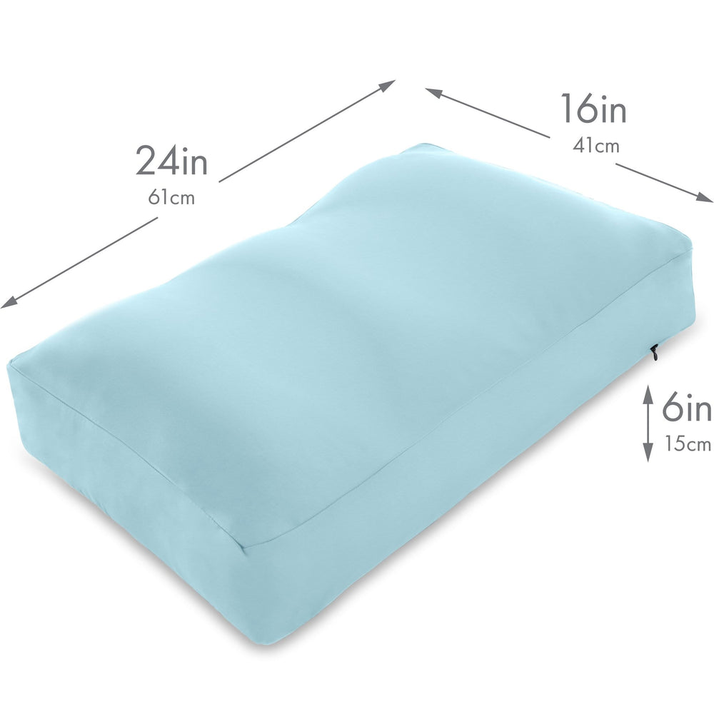Premium Microbead Bed Pillow, Large Extra Fluffy But Supportive - Ultra Comfortable Sleep with Silk Like Anti Aging Cover 85% spandex/ 15% nylon Breathable, Cooling Sweet Baby Blue
