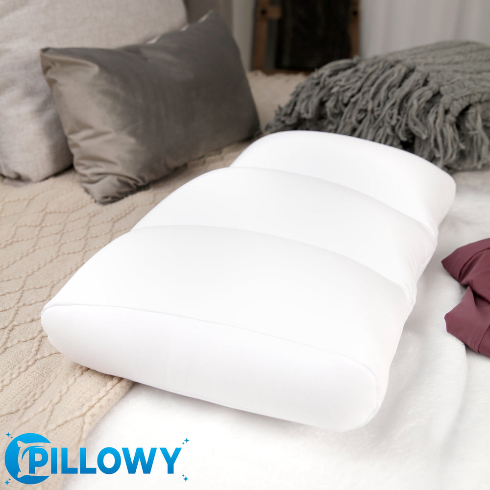 Premium Microbead Bed Pillow, Large Extra Fluffy But Supportive - Ultra Comfortable Sleep with Silk Like Anti Aging Cover 85% spandex/ 15% nylon Breathable, Cooling White