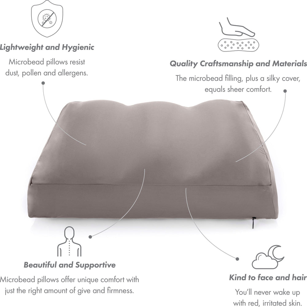 Cover Only for Premium Microbead Bed Pillow, Large Extra Smooth  - Ultra Comfortable Sleep with Silk Like Anti Aging Cover 85% spandex/ 15% nylon Breathable, Cooling Burgundy Merlot