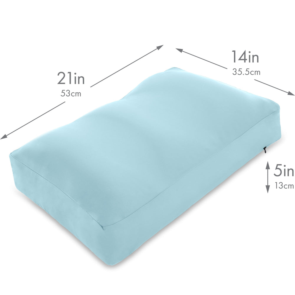 Premium Microbead Bed Pillow, Medium Extra Fluffy But Supportive - Ultra Comfortable Sleep with Silk Like Anti Aging Cover 85% spandex/ 15% nylon Breathable, Cooling Sweet Baby Blue