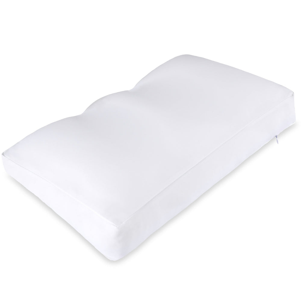 Premium Microbead Bed Pillow, Medium Extra Fluffy But Supportive - Ultra Comfortable Sleep with Silk Like Anti Aging Cover 85% spandex/ 15% nylon Breathable, Cooling White
