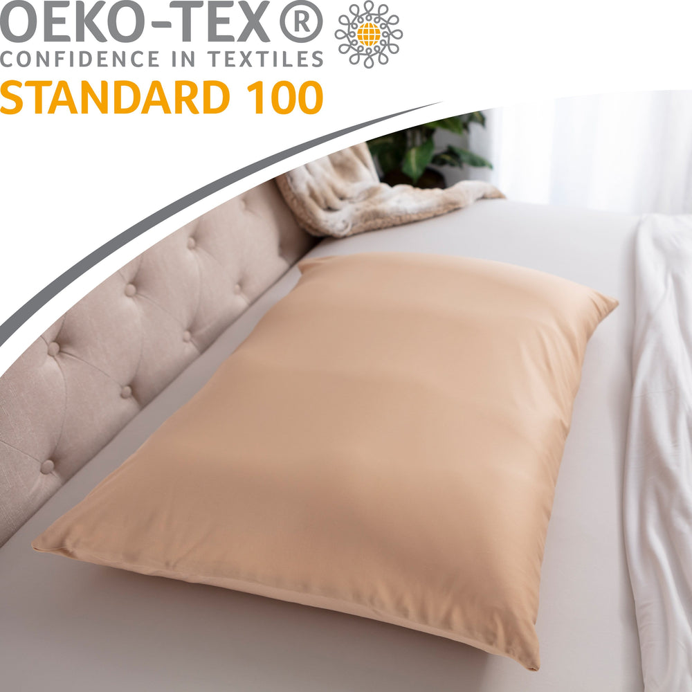 Premium Microbead Bed Pillow, X-Large Extra Fluffy But Supportive - Ultra Comfortable Sleep with Silk Like Anti Aging Cover 85% spandex/ 15% nylon Breathable, Cooling Barely Beige
