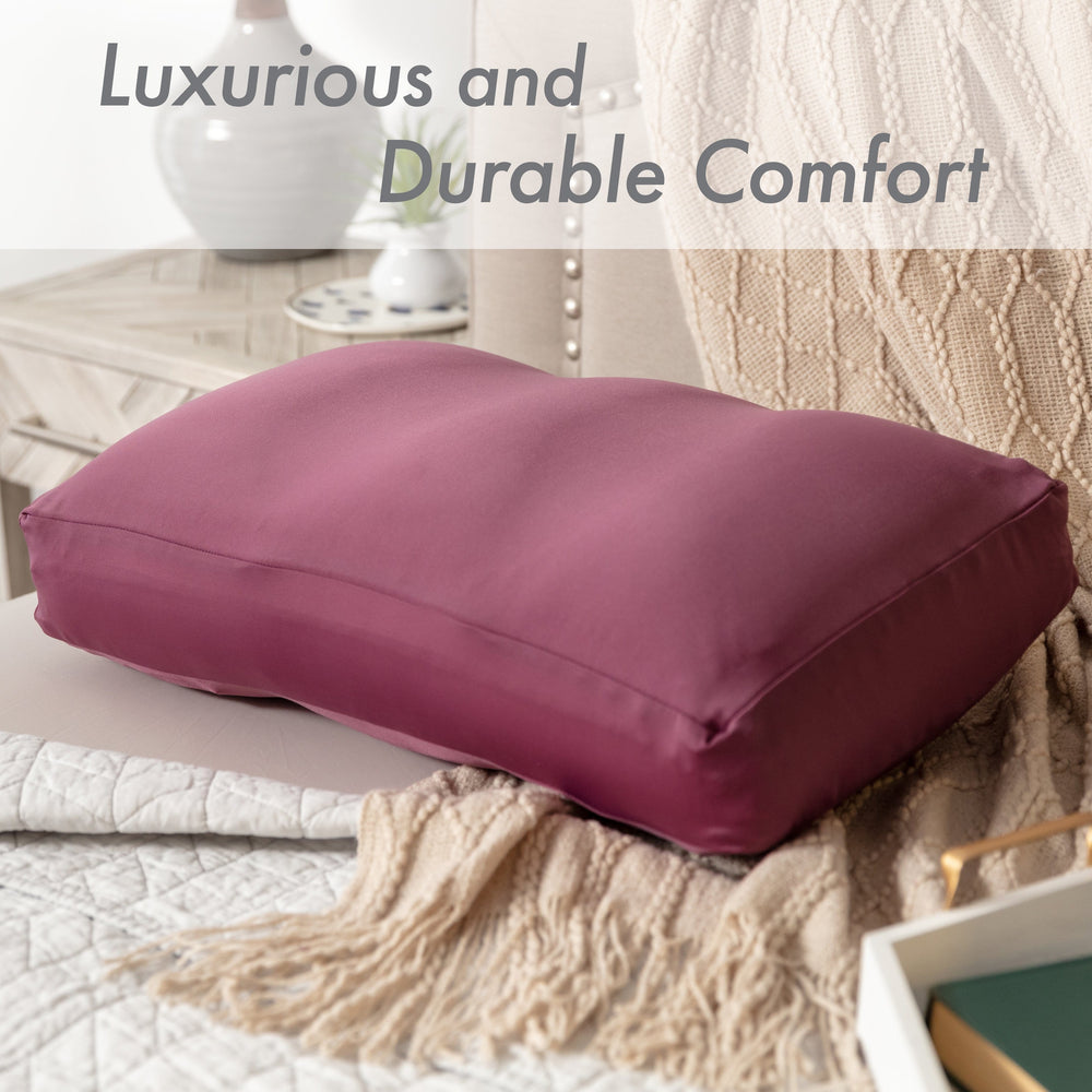 Premium Microbead Bed Pillow, X-Large Extra Fluffy But Supportive - Ultra Comfortable Sleep with Silk Like Anti Aging Cover 85% spandex/ 15% nylon Breathable, Cooling Burgundy Merlot
