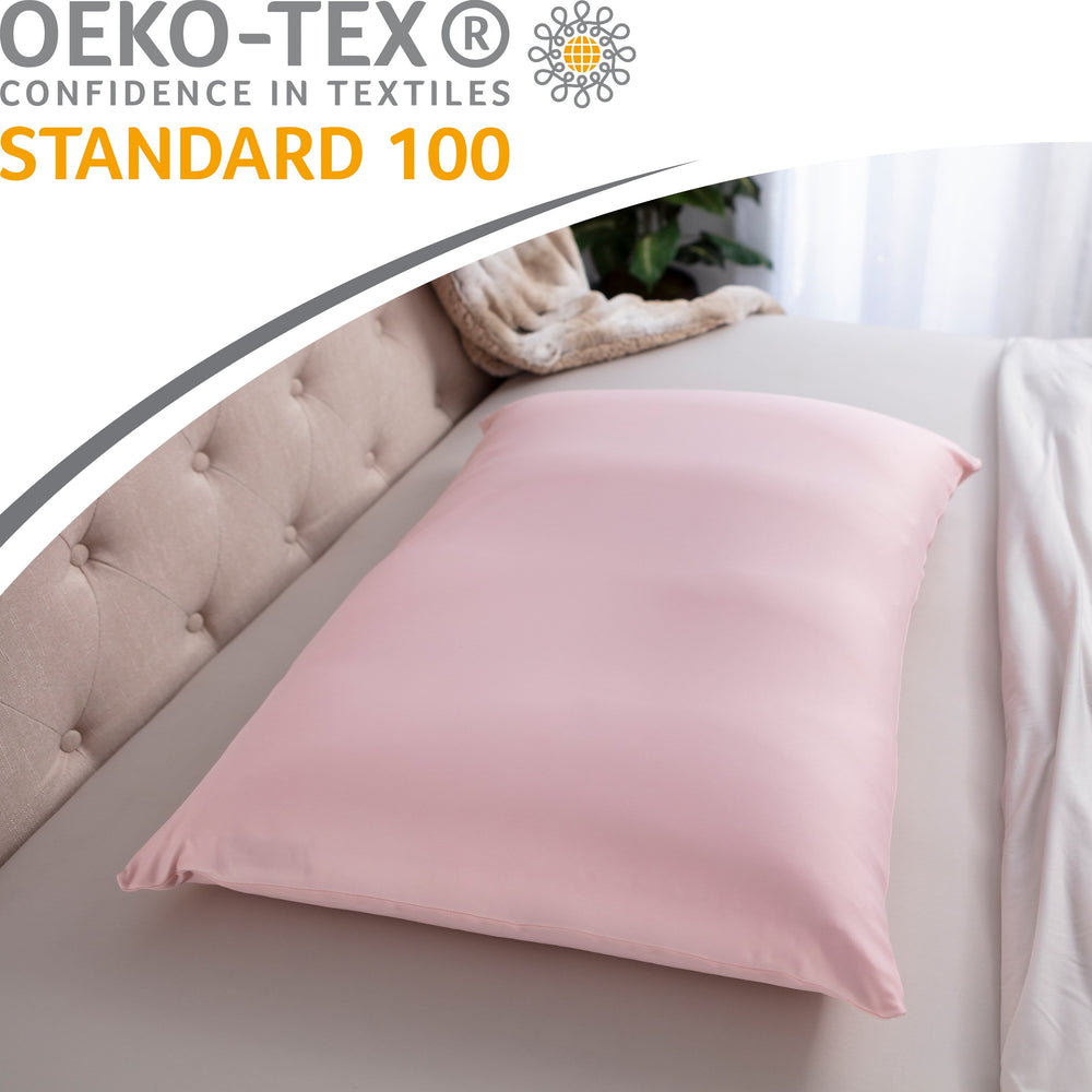 Premium Microbead Bed Pillow, X-Large Extra Fluffy But Supportive - Ultra Comfortable Sleep with Silk Like Anti Aging Cover 85% spandex/ 15% nylon Breathable, Cooling Cream Peach