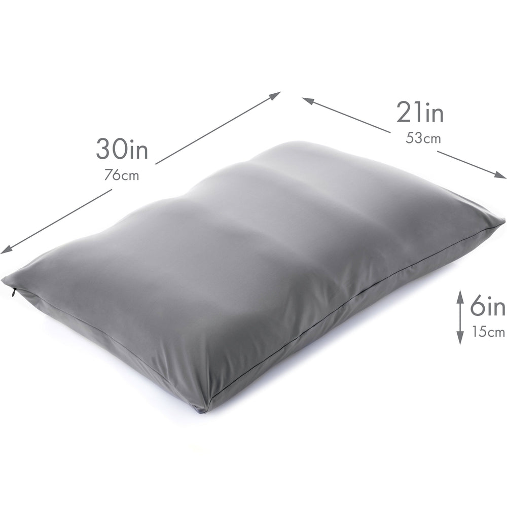 Premium Microbead Bed Pillow, X-Large Extra Fluffy But Supportive - Ultra Comfortable Sleep with Silk Like Anti Aging Cover 85% spandex/ 15% nylon Breathable, Cooling Dark Grey