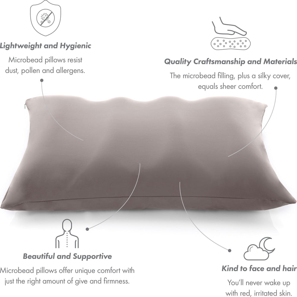Premium Microbead Bed Pillow, X-Large Extra Fluffy But Supportive - Ultra Comfortable Sleep with Silk Like Anti Aging Cover 85% spandex/ 15% nylon Breathable, Cooling Stone Gray