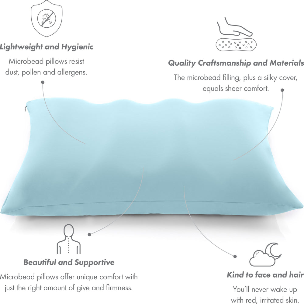 Premium Microbead Bed Pillow, X-Large Extra Fluffy But Supportive - Ultra Comfortable Sleep with Silk Like Anti Aging Cover 85% spandex/ 15% nylon Breathable, Cooling Sweet Baby Blue