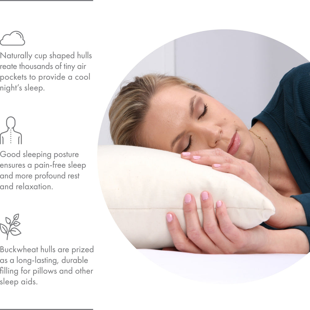 Organic Buckwheat Hull Neck Roll Pillow - Stress And Neck Tension Relief - All Natural Buckwheat