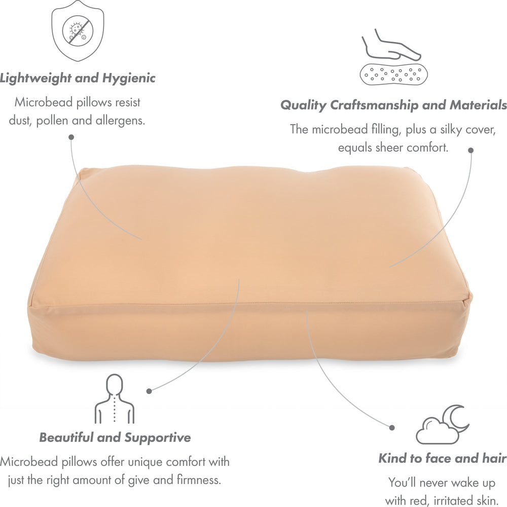 Cover Only for Premium Microbead Bed Pillow, Large Extra Smooth  - Ultra Comfortable Sleep with Silk Like Anti Aging Cover 85% spandex/ 15% nylon Breathable, Cooling Barely Beige