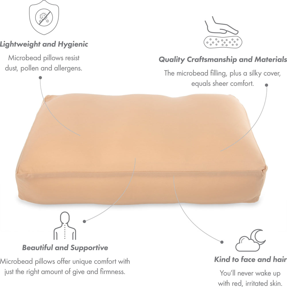 Premium Microbead Bed Pillow, Large Extra Fluffy But Supportive - Ultra Comfortable Sleep with Silk Like Anti Aging Cover 85% spandex/ 15% nylon Breathable, Cooling Stone Gray