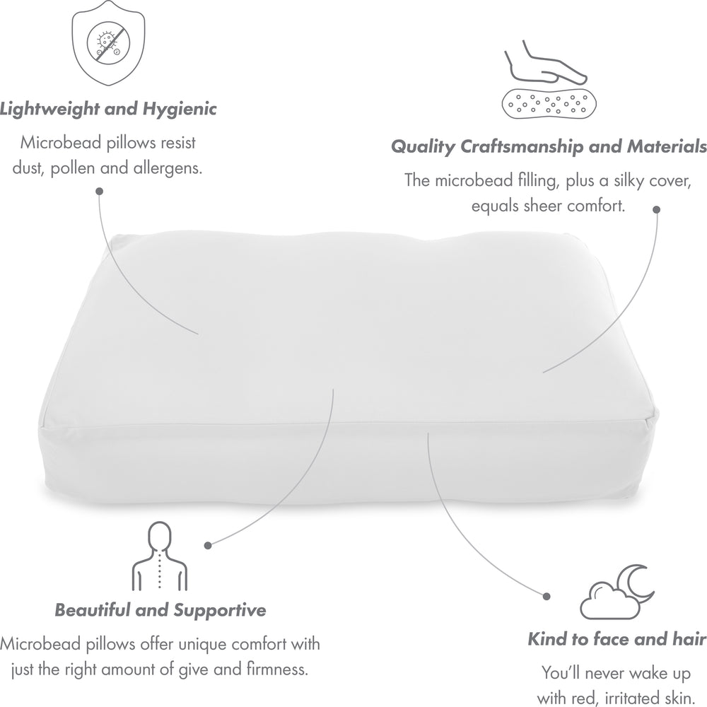 Cover Only for Premium Microbead Bed Pillow, Large Extra Smooth  - Ultra Comfortable Sleep with Silk Like Anti Aging Cover 85% spandex/ 15% nylon Breathable, Cooling White