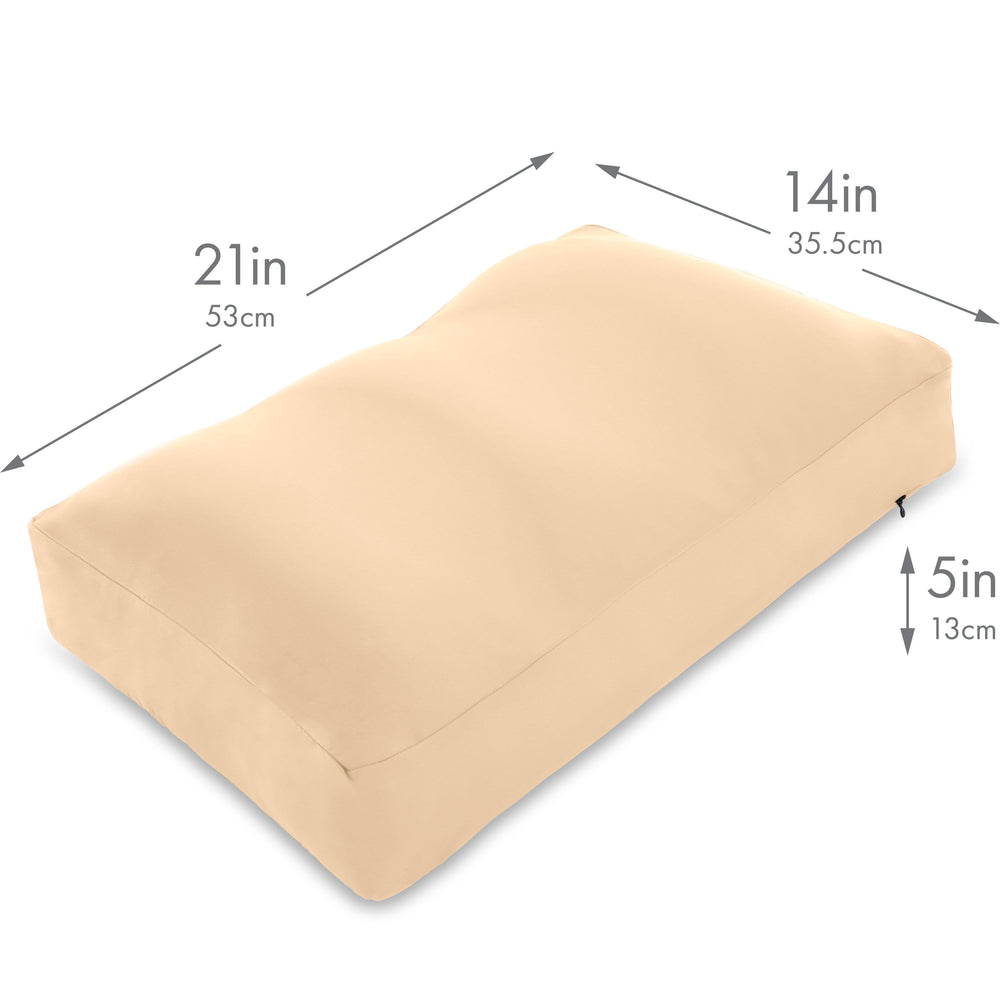 Cover Only for Premium Microbead Bed Pillow, Medium Extra Smooth  - Ultra Comfortable Sleep with Silk Like Anti Aging Cover 85% spandex/ 15% nylon Breathable, Cooling Barely Beige