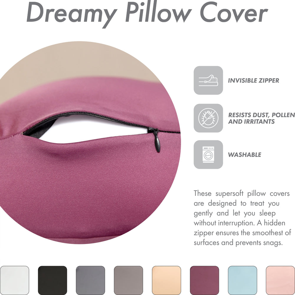 Cover Only for Premium Microbead Bed Pillow, Medium Extra Smooth  - Ultra Comfortable Sleep with Silk Like Anti Aging Cover 85% spandex/ 15% nylon Breathable, Cooling Burgundy Merlot