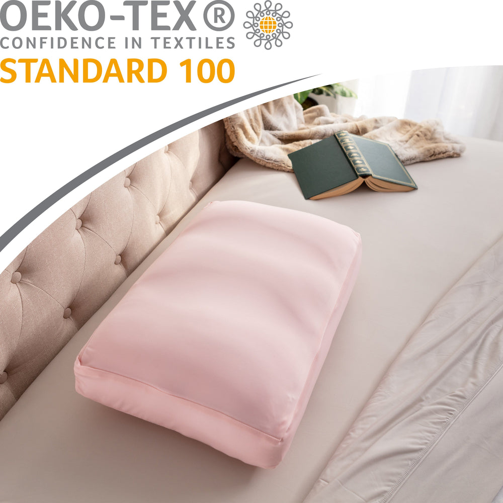 Cover Only for Premium Microbead Bed Pillow, Medium Extra Smooth  - Ultra Comfortable Sleep with Silk Like Anti Aging Cover 85% spandex/ 15% nylon Breathable, Cooling Cream Peach
