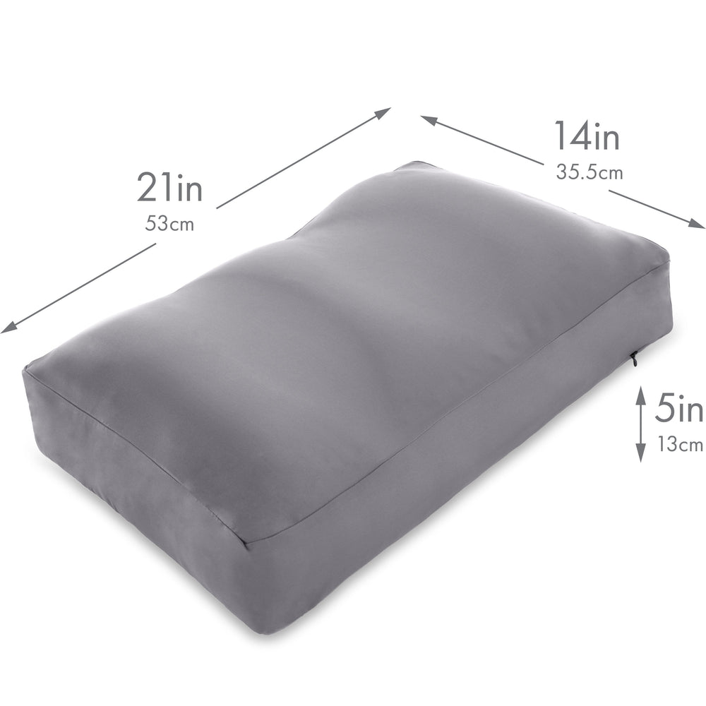Cover Only for Premium Microbead Bed Pillow, Medium Extra Smooth  - Ultra Comfortable Sleep with Silk Like Anti Aging Cover 85% spandex/ 15% nylon Breathable, Cooling Dark Grey