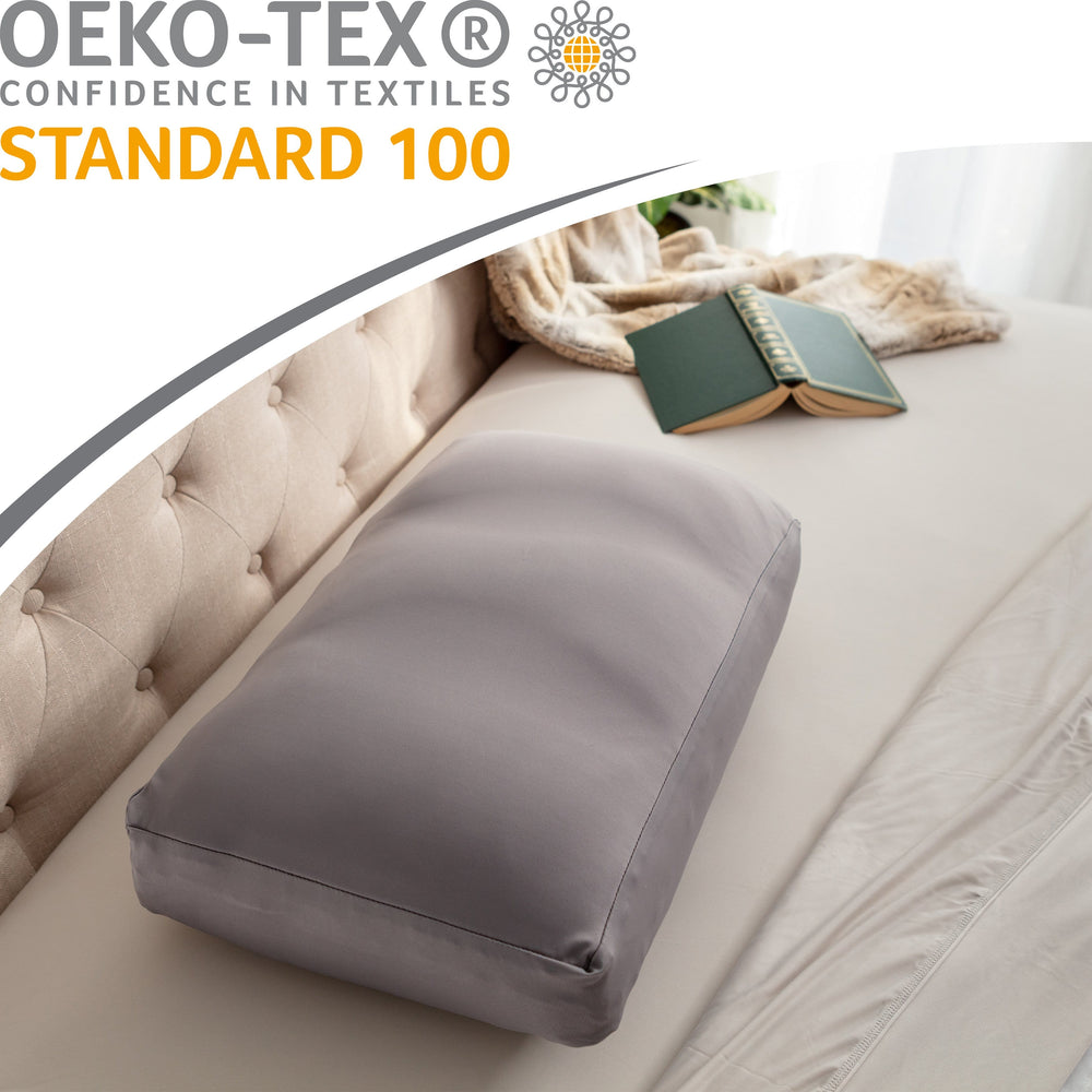 Cover Only for Premium Microbead Bed Pillow, Medium Extra Smooth  - Ultra Comfortable Sleep with Silk Like Anti Aging Cover 85% spandex/ 15% nylon Breathable, Cooling Stone Grey