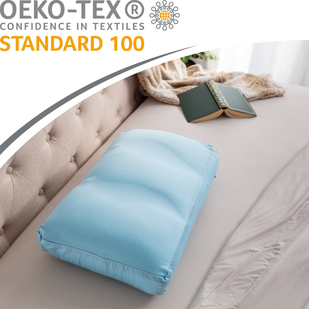 Cover Only for Premium Microbead Bed Pillow, Medium Extra Smooth  - Ultra Comfortable Sleep with Silk Like Anti Aging Cover 85% spandex/ 15% nylon Breathable, Cooling Sweet Baby Blue