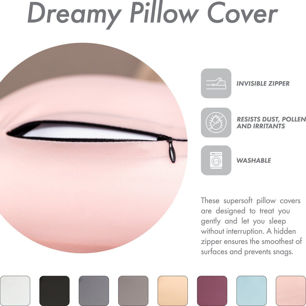 Cover Only for Premium Microbead Bed Pillow, X-Large Extra Smooth  - Ultra Comfortable Sleep with Silk Like Anti Aging Cover 85% spandex/ 15% nylon Breathable, Cooling Cream Peach