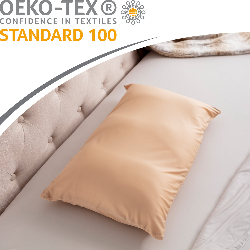 Cover Only for Premium Microbead Bed Pillow, Small Extra Smooth  - Ultra Comfortable Sleep with Silk Like Anti Aging Cover 85% spandex/ 15% nylon Breathable, Cooling Barely Beige