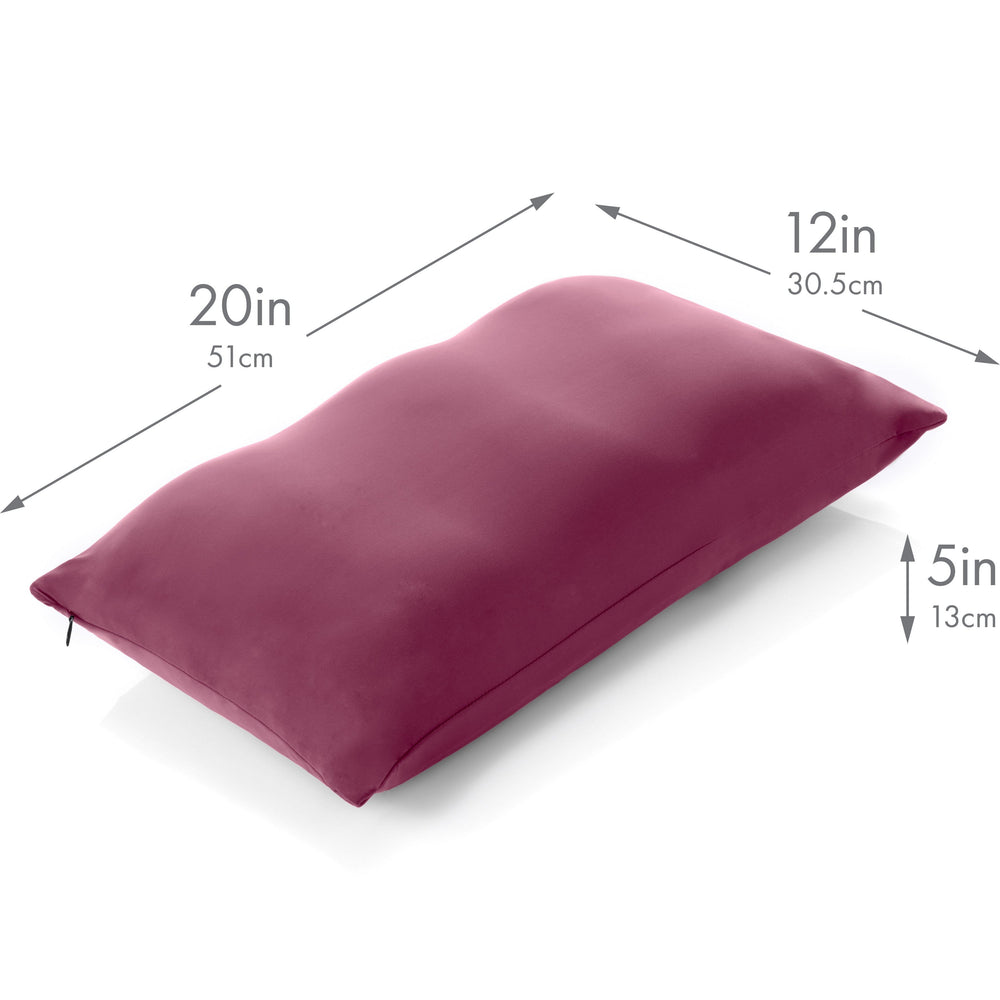 Cover Only for Premium Microbead Bed Pillow, Small Extra Smooth  - Ultra Comfortable Sleep with Silk Like Anti Aging Cover 85% spandex/ 15% nylon Breathable, Cooling Burgundy Merlot