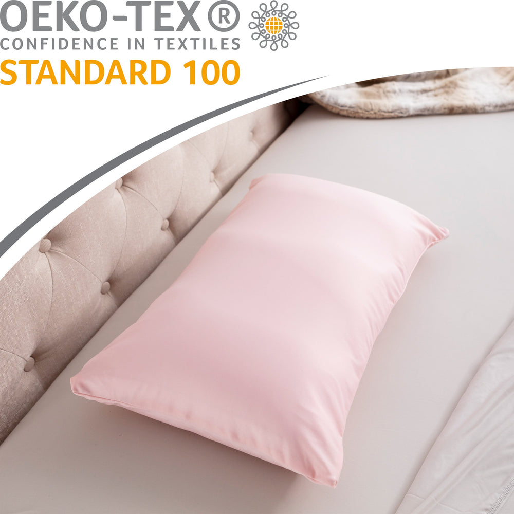 Cover Only for Premium Microbead Bed Pillow, Small Extra Smooth  - Ultra Comfortable Sleep with Silk Like Anti Aging Cover 85% spandex/ 15% nylon Breathable, Cooling Cream Peach