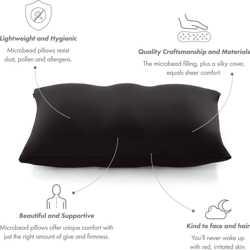 Cover Only for Premium Microbead Bed Pillow, Small Extra Smooth  - Ultra Comfortable Sleep with Silk Like Anti Aging Cover 85% spandex/ 15% nylon Breathable, Cooling Matte Black