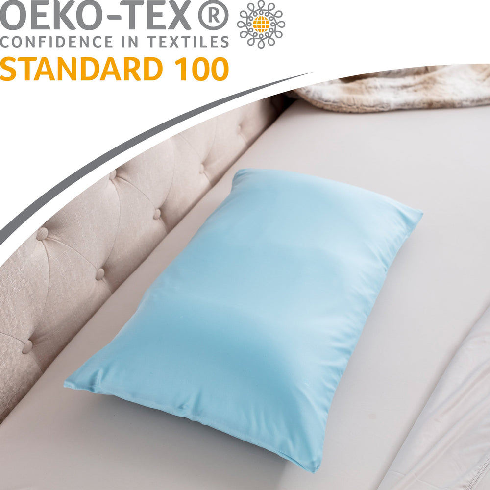 Cover Only for Premium Microbead Bed Pillow, Small Extra Smooth  - Ultra Comfortable Sleep with Silk Like Anti Aging Cover 85% spandex/ 15% nylon Breathable, Cooling Sweet Baby Blue