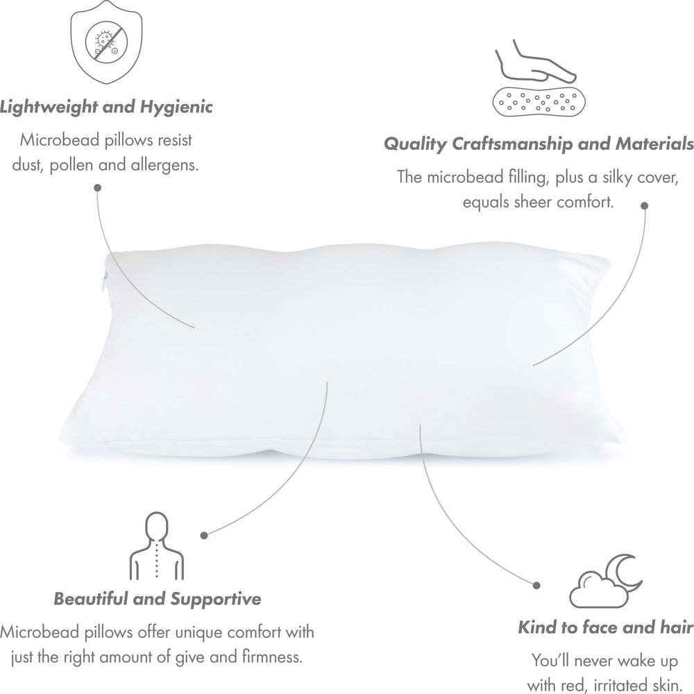 Cover Only for Premium Microbead Bed Pillow, Small Extra Smooth  - Ultra Comfortable Sleep with Silk Like Anti Aging Cover 85% spandex/ 15% nylon Breathable, Cooling White