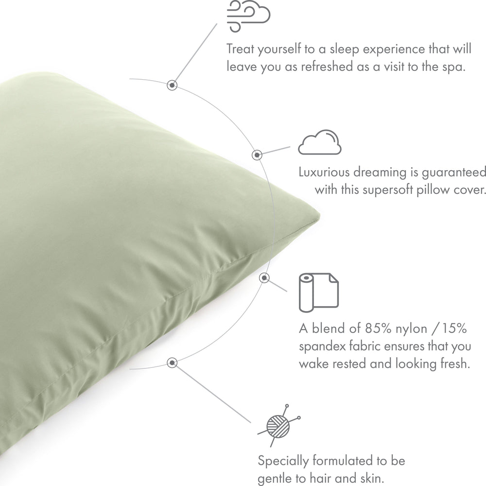 Ultra Silk Like Beauty Pillow Cover - Blend of 85% Nylon and 15% Spandex Means This Cover Is Designed to Keep Hair Tangle Free and Helps Skin - Bonus Matching Hair Scrunchie, Cadet Grey, King