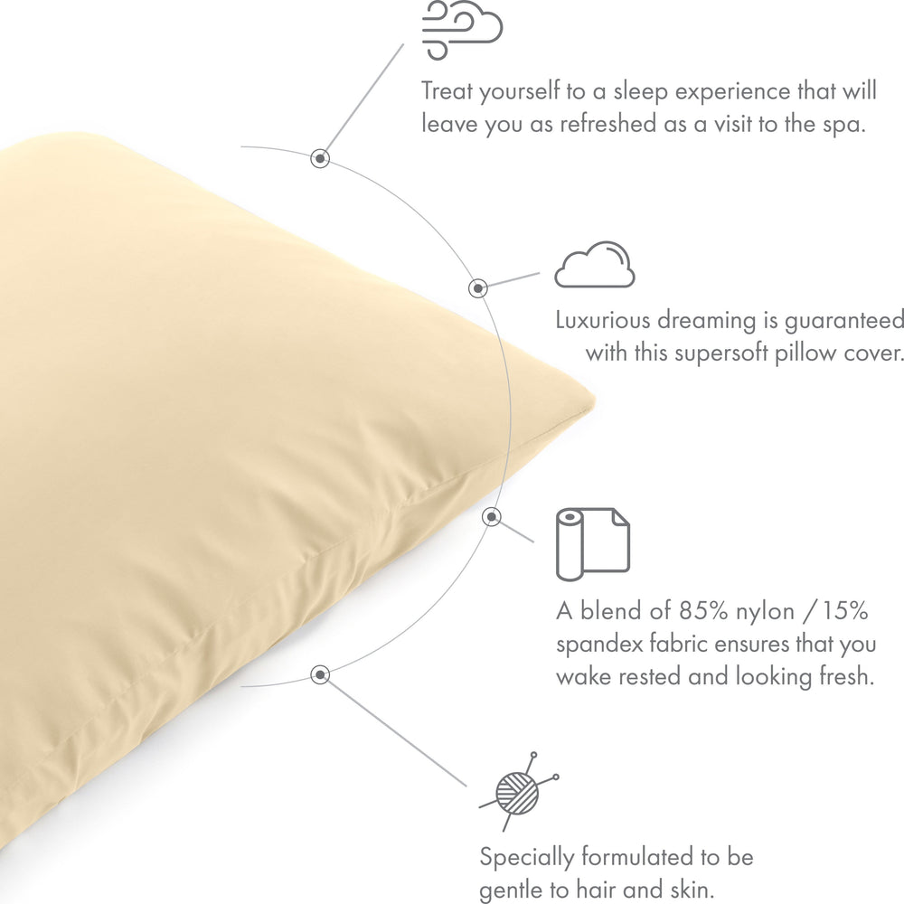 Ultra Silk Like Beauty Pillow Cover - Blend of 85% Nylon and 15% Spandex Means This Cover Is Designed to Keep Hair Tangle Free and Helps Skin - Bonus Matching Hair Scrunchie, Off Cream, King