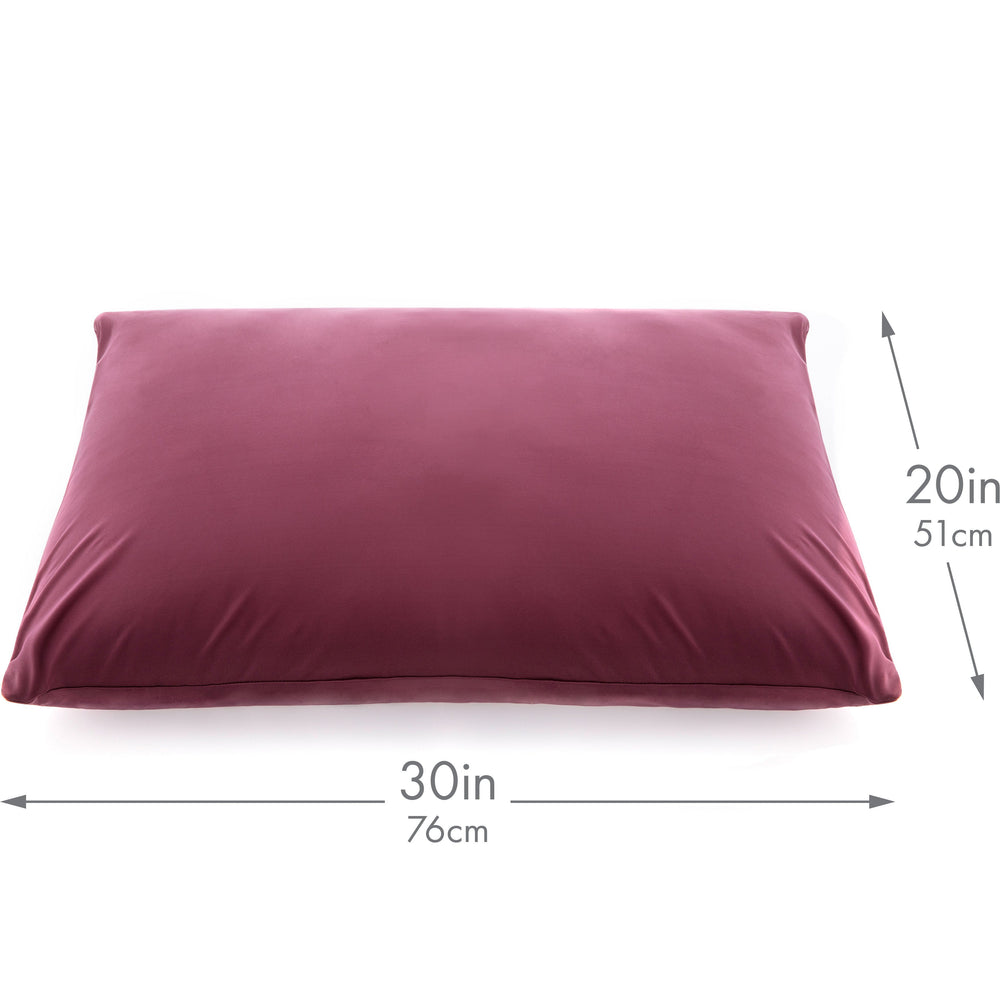 Ultra Silk Like Beauty Pillow Cover - Blend of 85% Nylon and 15% Spandex Means This Cover Is Designed to Keep Hair Tangle Free and Helps Skin - Bonus Matching Hair Scrunchie, Burgundy, Queen
