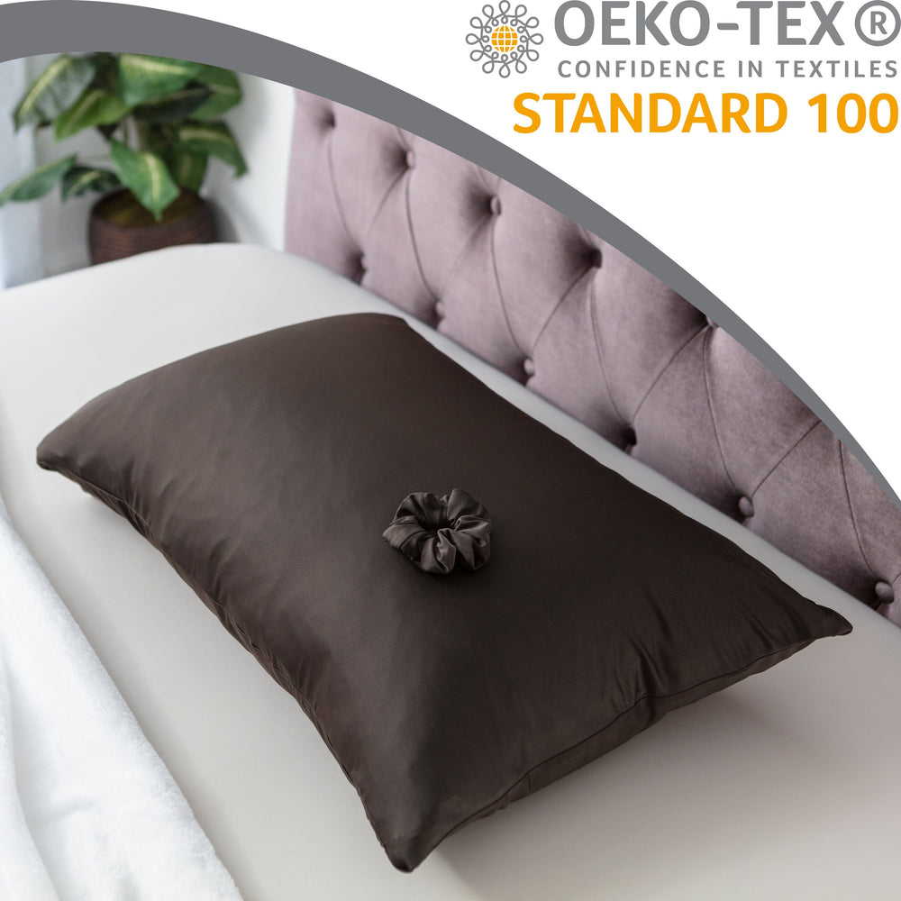 Ultra Silk Like Beauty Pillow Cover - Blend of 85% Nylon and 15% Spandex Means This Cover Is Designed to Keep Hair Tangle Free and Helps Skin - Bonus Matching Hair Scrunchie, Matte Black, Queen