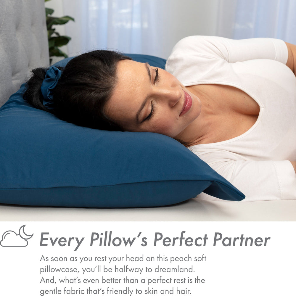 Ultra Silk Like Beauty Pillow Cover - Blend of 85% Nylon and 15% Spandex Means This Cover Is Designed to Keep Hair Tangle Free and Helps Skin - Bonus Matching Hair Scrunchie, Peacock Blue, Queen
