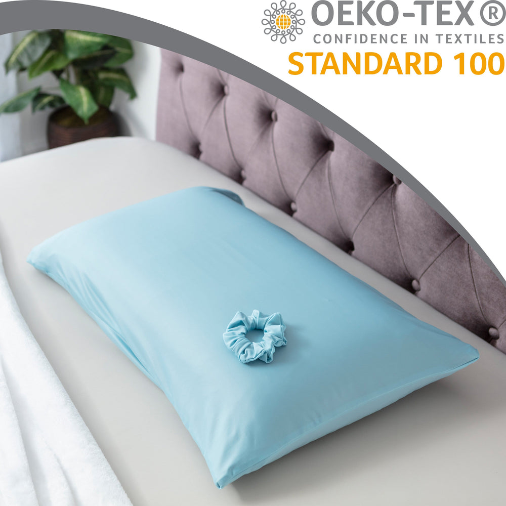 Ultra Silk Like Beauty Pillow Cover - Blend of 85% Nylon and 15% Spandex Means This Cover Is Designed to Keep Hair Tangle Free and Helps Skin - Bonus Matching Hair Scrunchie, Sweat Baby Blue, Queen