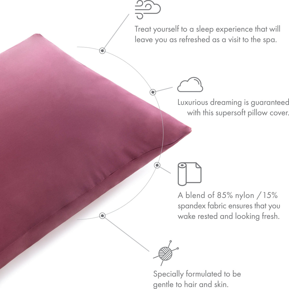 Ultra Silk Like Beauty Pillow Cover - Blend of 85% Nylon and 15% Spandex Means This Cover Is Designed to Keep Hair Tangle Free and Helps Skin - Bonus Matching Hair Scrunchie, Burgundy, Standard