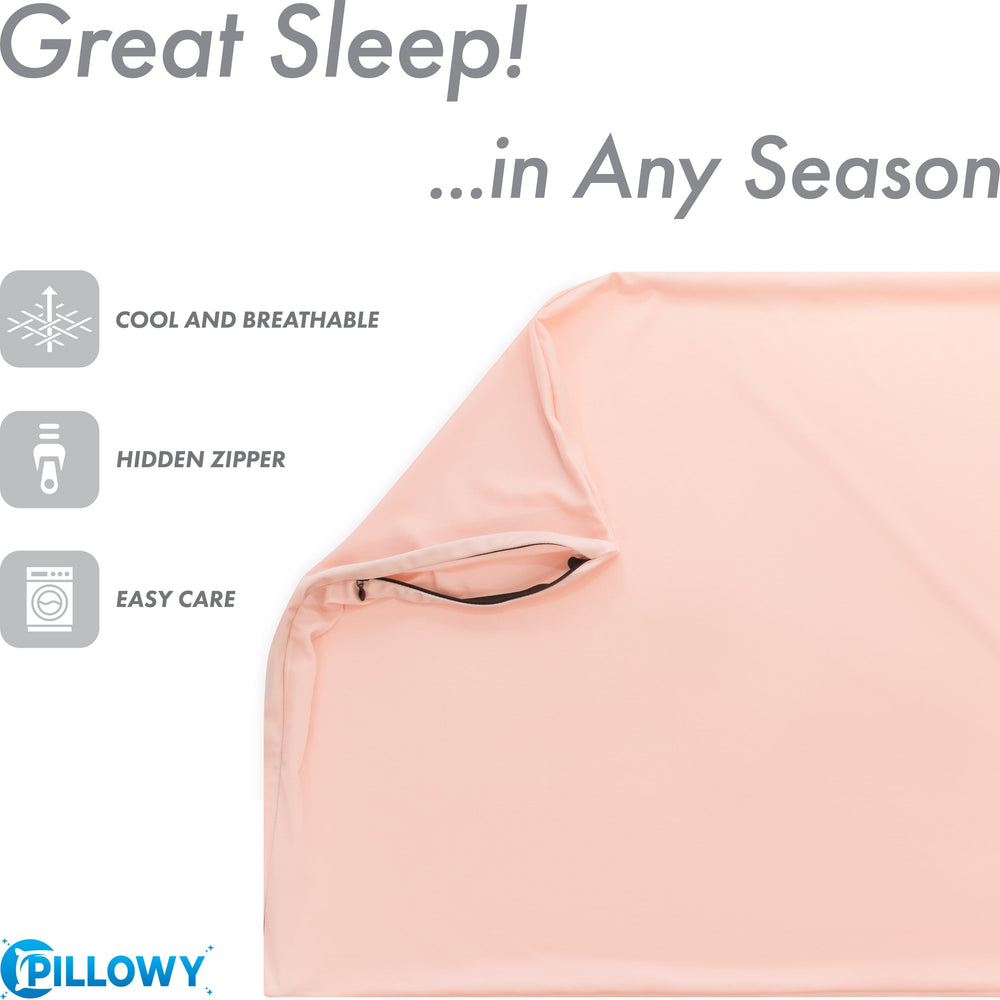Ultra Silk Like Beauty Pillow Cover - Blend of 85% Nylon and 15% Spandex Means This Cover Is Designed to Keep Hair Tangle Free and Helps Skin - Bonus Matching Hair Scrunchie, Cream Peach, Standard