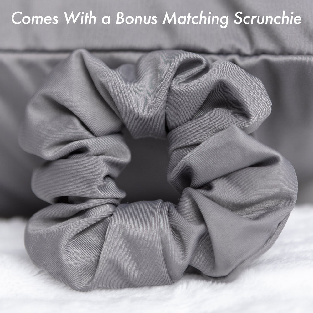 Ultra Silk Like Beauty Pillow Cover - Blend of 85% Nylon and 15% Spandex Means This Cover Is Designed to Keep Hair Tangle Free and Helps Skin - Bonus Matching Hair Scrunchie, Dark Grey, Standard