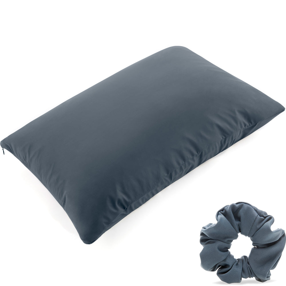 Ultra Silk Like Beauty Pillow Cover - Blend of 85% Nylon and 15% Spandex Means This Cover Is Designed to Keep Hair Tangle Free and Helps Skin - Bonus Matching Hair Scrunchie, Dark Slate, Standard