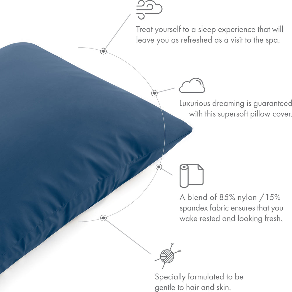 Ultra Silk Like Beauty Pillow Cover - Blend of 85% Nylon and 15% Spandex Means This Cover Is Designed to Keep Hair Tangle Free and Helps Skin - Bonus Matching Hair Scrunchie, Peacock Blue, Standard