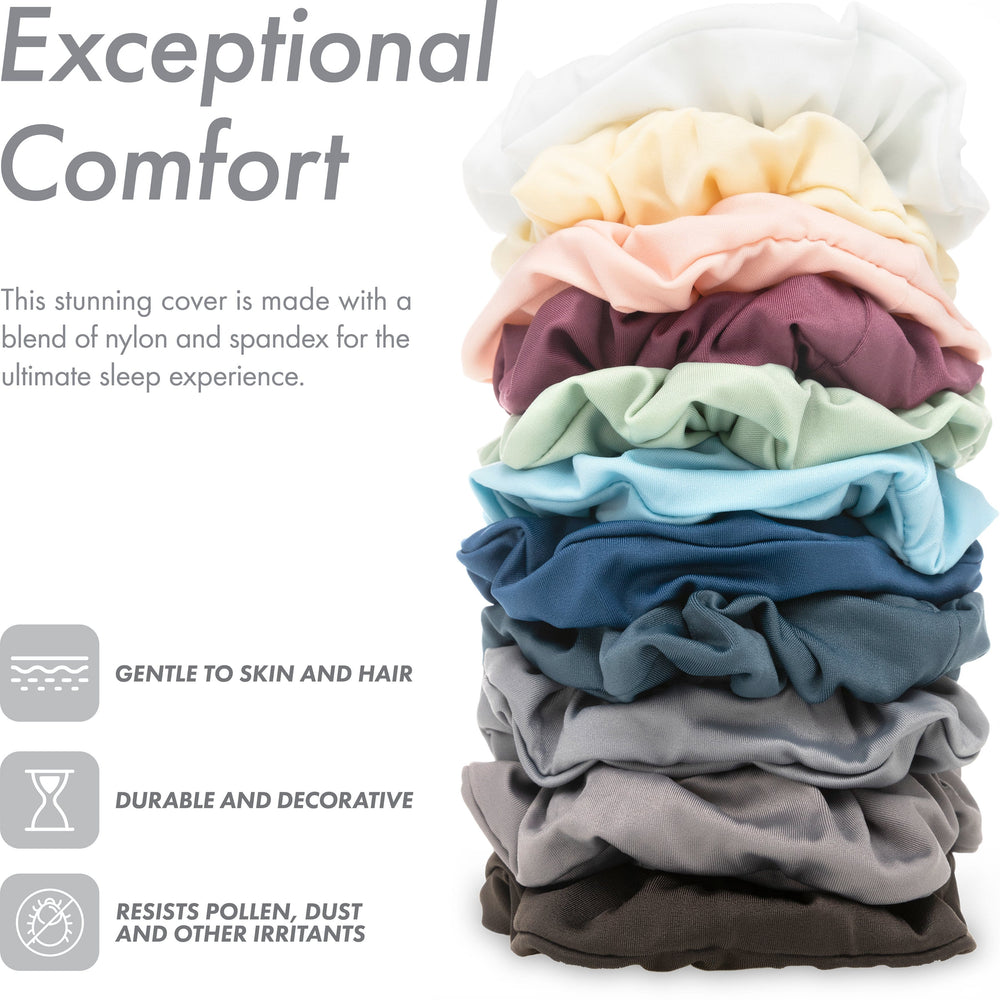 Ultra Silk Like Beauty Pillow Cover - Blend of 85% Nylon and 15% Spandex Means This Cover Is Designed to Keep Hair Tangle Free and Helps Skin - Bonus Matching Hair Scrunchie, Stone Grey, Standard