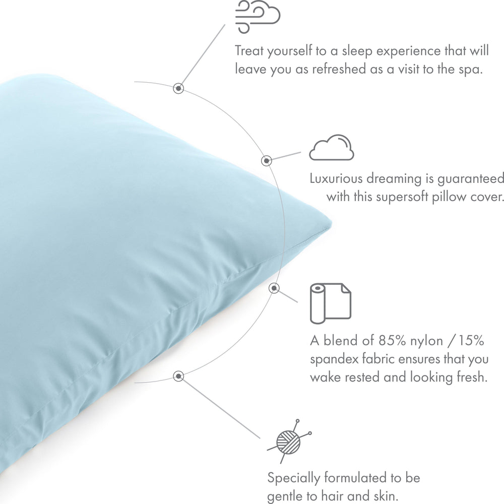 Ultra Silk Like Beauty Pillow Cover - Blend of 85% Nylon and 15% Spandex Means This Cover Is Designed to Keep Hair Tangle Free and Helps Skin - Bonus Matching Hair Scrunchie, Sweat Baby Blue, Standard